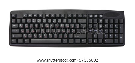 isolated black keyboard on a white background - stock photo