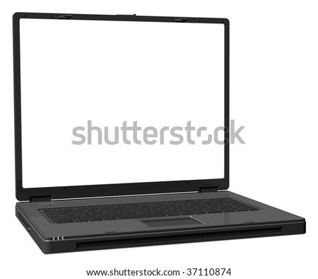 Isolated black laptop on a white background