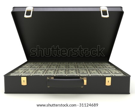 isolated black leather case with moneys - stock photo