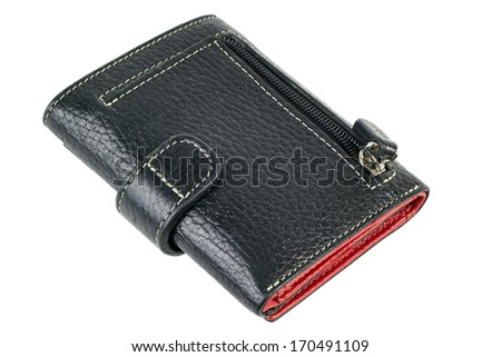 isolated black  leather wallet on a white background