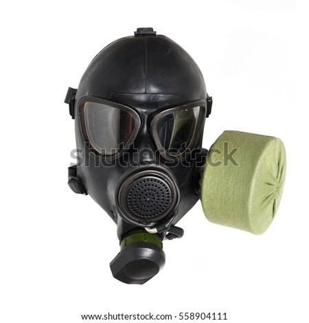 Isolated black military soviet gas mask. Front view