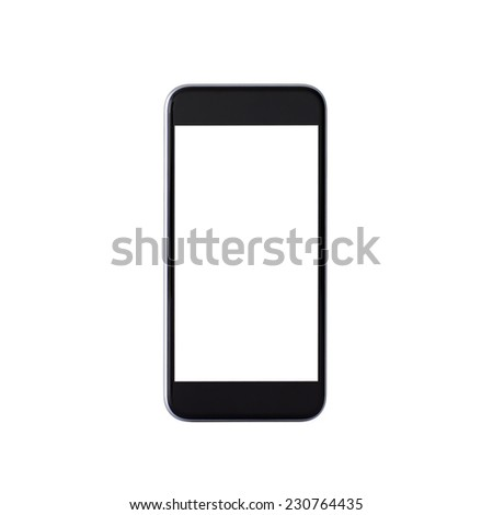 Isolated black mobile phone with white screen - stock photo
