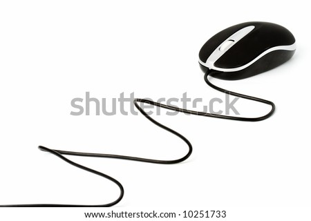 isolated black mouse with zigzag laying wire - stock photo