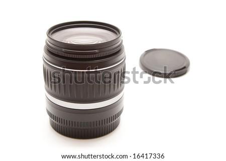 Isolated black photo lens - stock photo