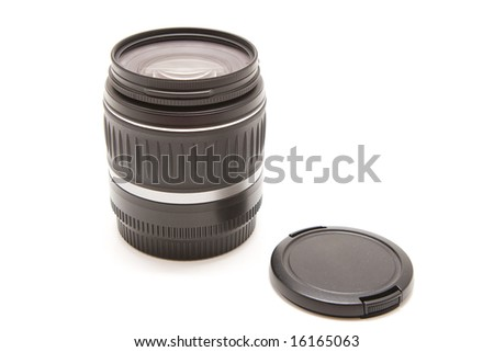 isolated black photo lens and cover - stock photo