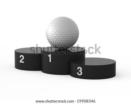 Isolated black podium and golf ball. - stock photo