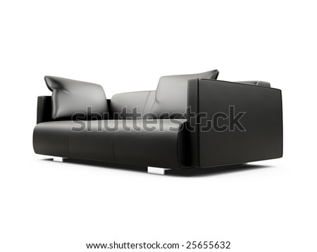 isolated black sofa on a white background
