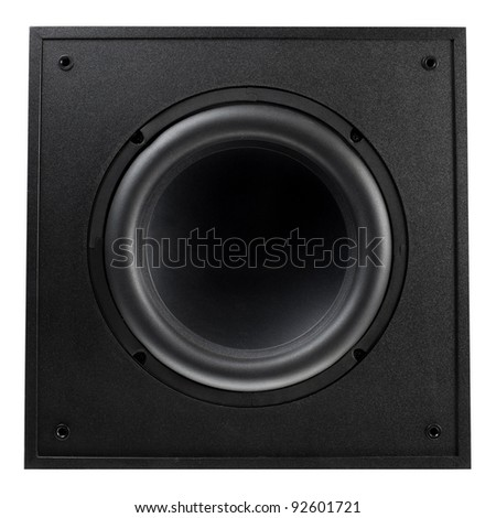 Isolated Black Speaker Box - stock photo