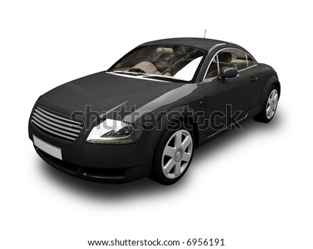 isolated black sport car on white background