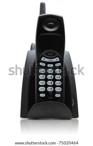 isolated black vordless phone on white with its reflection - stock photo