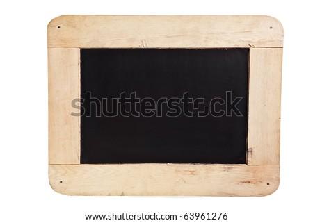 isolated, blackboard on wooden frame - stock photo
