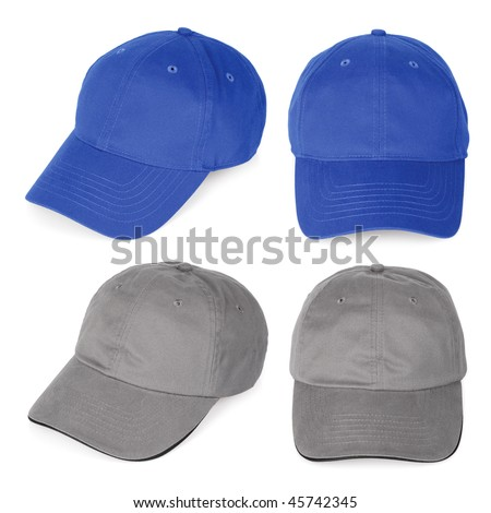 Isolated blank baseball caps ready for your logo or design. Clipping path for each hat included.