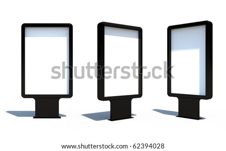 Isolated Blank Black Sitylight With Shadows - stock photo