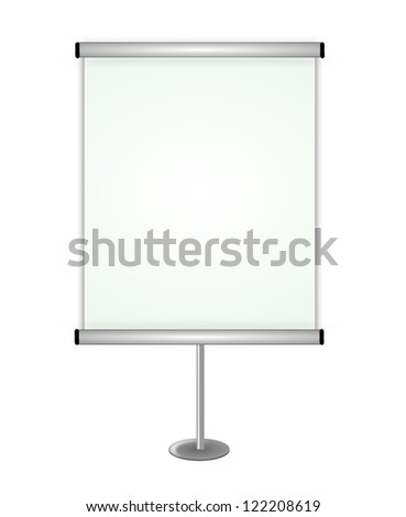 Isolated blank board on white background. - stock photo