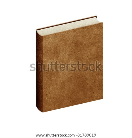 isolated Blank book recycled paper on white background