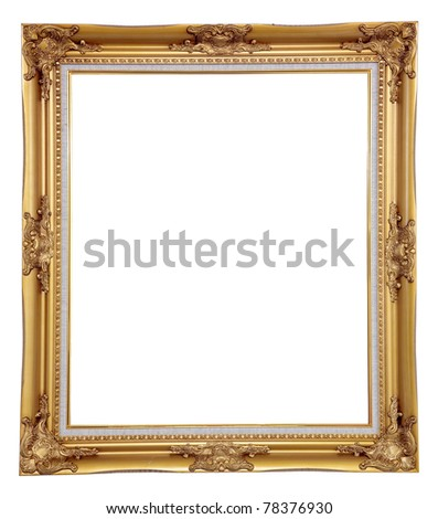 isolated blank classic photo frame - stock photo