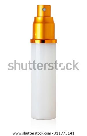 isolated blank cosmetic bottle on white background - stock photo