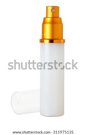 isolated blank cosmetic bottle with open cap on white background - stock photo