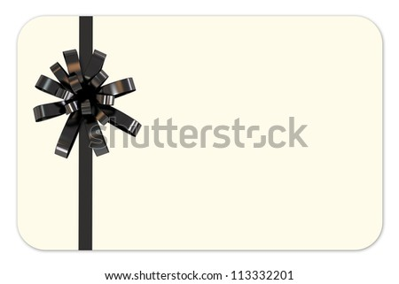 Isolated Blank Gift Card with Black Ribbon - stock photo