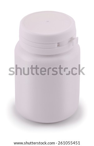 Isolated blank medicine bottle on a white. Clipping path included. - stock photo