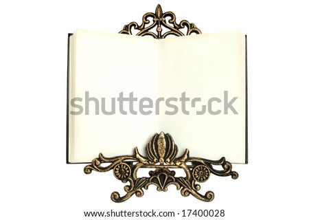 isolated blank old book on the book rest - stock photo