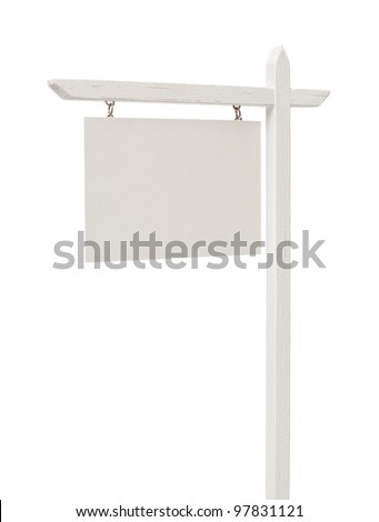 Isolated Blank Real Estate Sign with Clipping Path. - stock photo