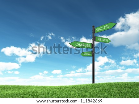 Isolated Blank roadsign on hill with grass - stock photo