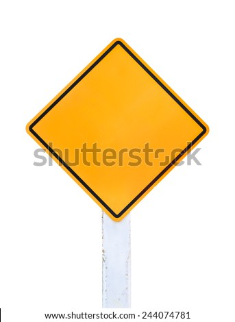Isolated Blank Yellow Sign - Empty Yellow Symbol isolated on white background - stock photo