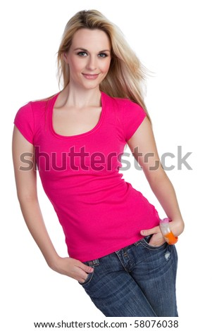 Isolated blond woman - stock photo
