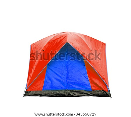 Isolated blue and red dome tent with clipping path - stock photo