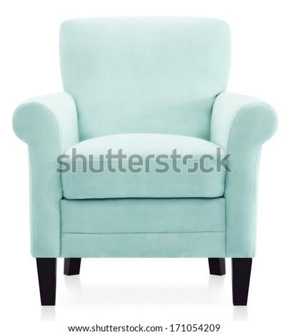 isolated blue armchair - stock photo