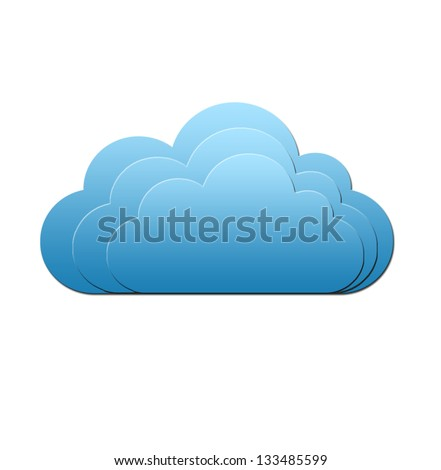 Isolated blue cloud - stock photo