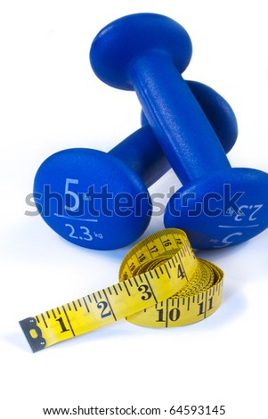 isolated blue dumbbells with yellow measuring tape on white background - stock photo