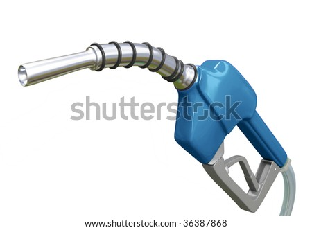 Isolated Blue Gas Pump Nozzle - stock photo