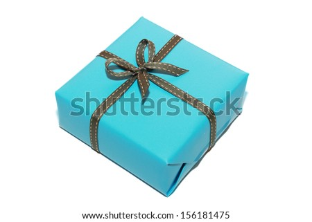 isolated blue gift box in white background - stock photo