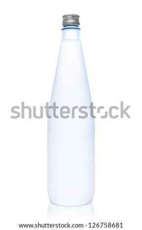 Isolated blue glass water bottle on white background - stock photo