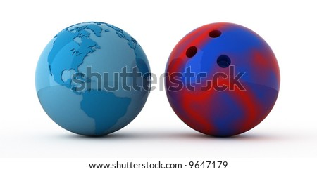 Isolated blue globe and bowling ball - stock photo