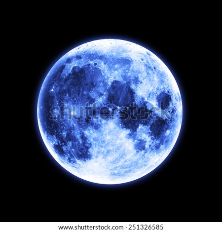 Isolated Blue Moon - Elements of this Image Furnished by NASA - stock photo