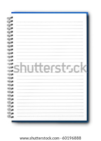 isolated blue notebook on white. - stock photo