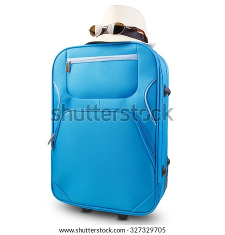 isolated blue suitcase with wheels, colorful - stock photo