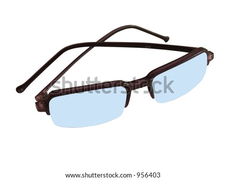 Isolated blue sunglasses - stock photo