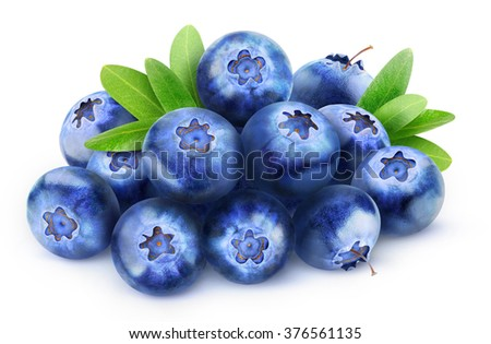 Isolated blueberries. Pile of fresh blueberry fruits isolated on white background with clipping path - stock photo