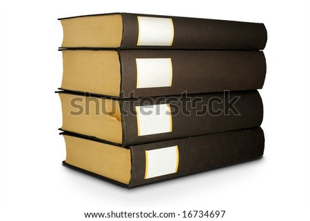 Isolated books on the white background with shadows and clipping path - stock photo
