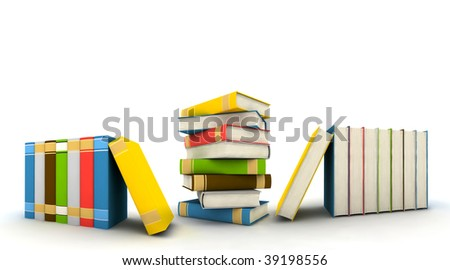 isolated books on white background - 3d render - stock photo