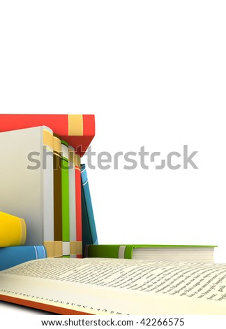 isolated books on white background - 3d render