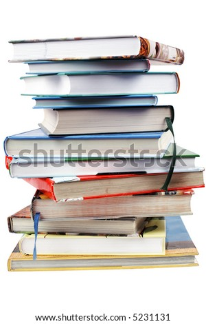 Isolated books stack viewed from above - stock photo