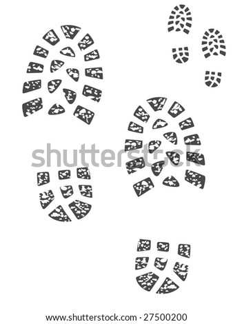 Isolated boot prints, muddy and clean set (vector in my portfolio) - stock photo