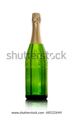 isolated bottle of champagne with the reflection - stock photo