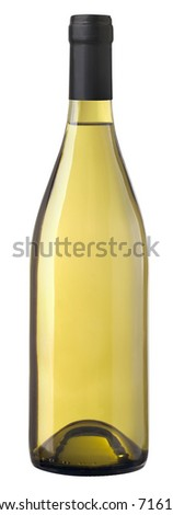 Isolated bottle of Chardonnay wine ready for pasting labels. Clipping path included. - stock photo