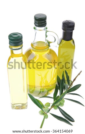 isolated bottle of oil over white background - stock photo